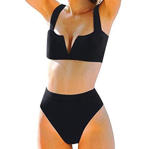 (MOSHENGQI Women High Wasited Bikini Shoulder Strap 2 Piece High Cut String Swimsuits (Medium, Black59))