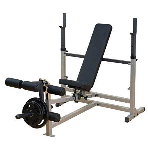 Body-Solid Powercenter Olympic Combo Bench with Preacher Curl and LAT Pulldown Attachment (GDIB46LP4) (Stool Utility Seated)