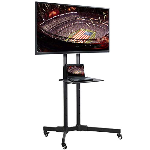 (Cypressshop Portable Mobile TV Stand Rolling Cart Trolley Wheels Mount Heavy Duty Entertainment Shelf Console Center Compatible with Plasma LED Flat TV Screen 32-65