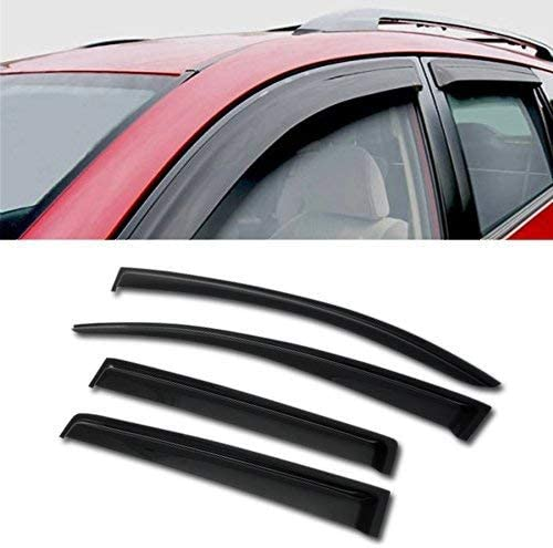 4 Pcs Set Compatible With 2013-2015 Chevrolet Spark Tuningpros WD2-686 Outside Mount Window Visor Deflector Rain Guard Dark Smoke