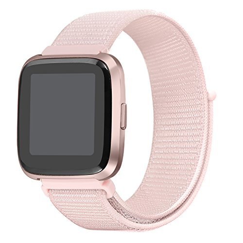 bayite Soft Nylon Bands Compatible Fitbit Versa Women Men, Breathable Sport Loop Band Replacement Accessories Wristband