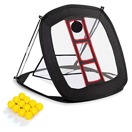 Portable Pop Up Golf Chipping Net with 12 Training Balls Net Indoor Outdoor Golf Training Set with Rubber Tee,Golf Ball New