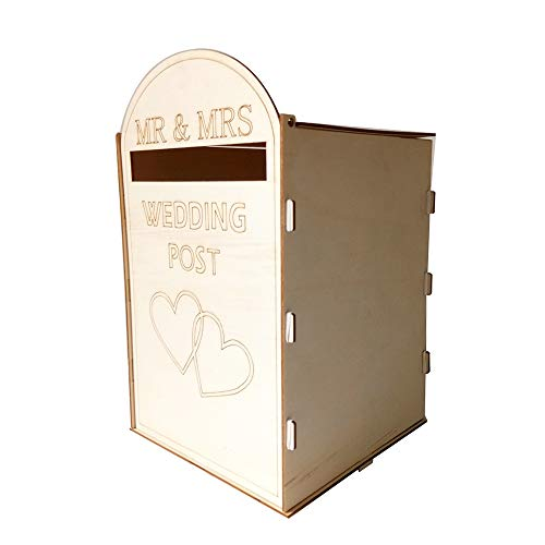 (Leepesx DIY Wooden Wedding Mailbox Post Box with Lock Rustic Hollow Gift Card Holder for Reception Wedding Anniversary Party Decoration )