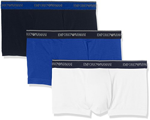 Emporio Armani Men's Core Logoband 3-Pack Trunk, Marine/Electric Blue/White, Medium by Emporio Armani