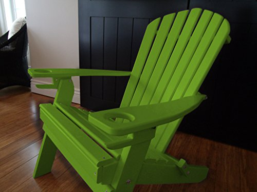 Cheap Poly Recycled Plastic Adirondack Chair with Two Cupholder-Lime Green