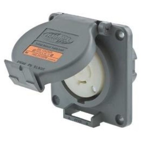 Hubbell Wiring Systems HBL2410SW Twist-Lock Watertight Safety Shroud Receptacle, 20 amp, 125/250VAC, 3-Pole, 4-Wire Grounding, L14-20R, Gray