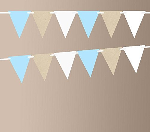 Kraft Brown Baby Blue Shimmer White 10ft Vintage Pennant Banner Paper Triangle Bunting Flags for Weddings, Birthdays, Baby Showers, Events & Parties (Paper Banners)
