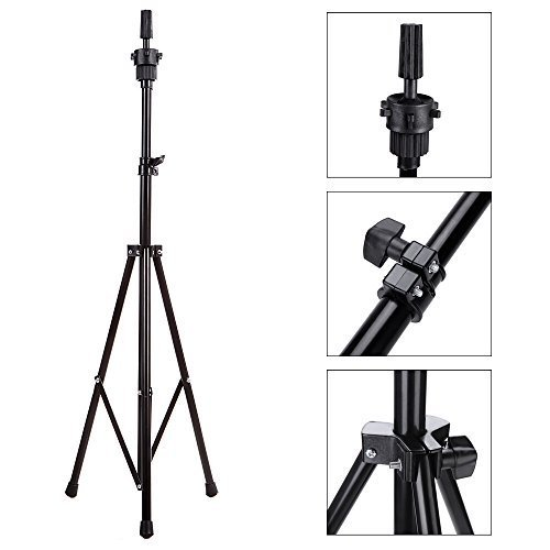 TopWigy Mannequin Head Tripod Stand Wig Head Stand Holder for Cosmetology Hairdressing Training Tripod Block Head Doll Head Stand (Black Color)
