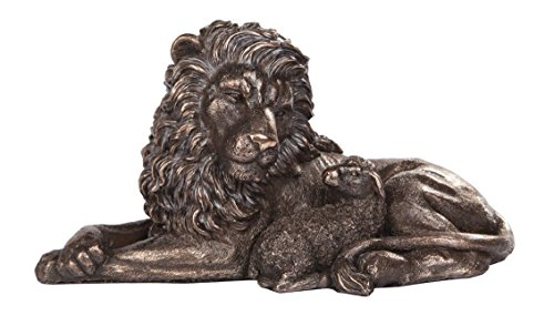 Isaiah 11:6 Inspired Lion And Lamb Sculpture Statue Peace Of God Faux Bronze
