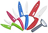 Surpahs YQCKS-1505 5 Piece Ceramic Knife Set with Sheath Sleeve & Peeler, Assorted/White