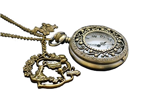 Alice in Wonderland- Alice Pocket Watch Necklace,with Antique Brass Rabbit,teapot Cat Pendant