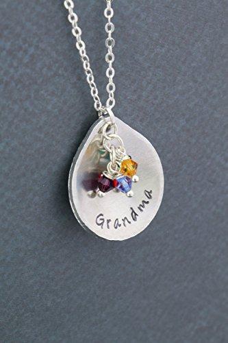 Grandma Birthstone Necklace - DII ABC - Personalized Teardrop Name - Mom Gift - Grandkids Grandchildren - Aluminum Disc Silver Chain - Ships in 1 Business Day