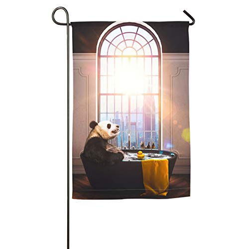 Private Bath Customiz Panda Bathing in Bathtub Rubber Duck with Sunshine Garden Yard Flag Welcome House Flag Banners for Patio Lawn Outdoor Home -