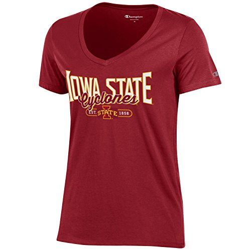 (Champion NCAA Women's University Short Sleeve Tagless Lady's V-Neck Tee, Iowa State Cyclones, Large)