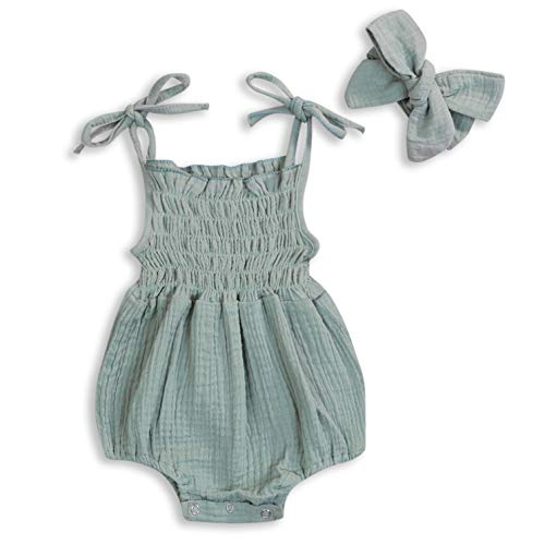 KCSLLCA Baby Girls Sleeveless Romper Set Solid Color Sling Backless Jumpsuit Outfits with Headband (Sage Green, 3-6 Months)