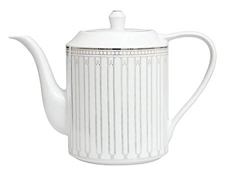 Porcel Allegro Cafetera Tetera, Porcelana, Blanco y Plata, 12 cm ...
