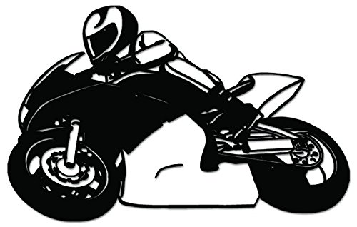 Sport Bike Motorcycle Racing Vinyl Decal Sticker For Vehicle Car Truck Window Bumper Wall Decor - [6 inch/15 cm Wide] - Gloss WHITE Color