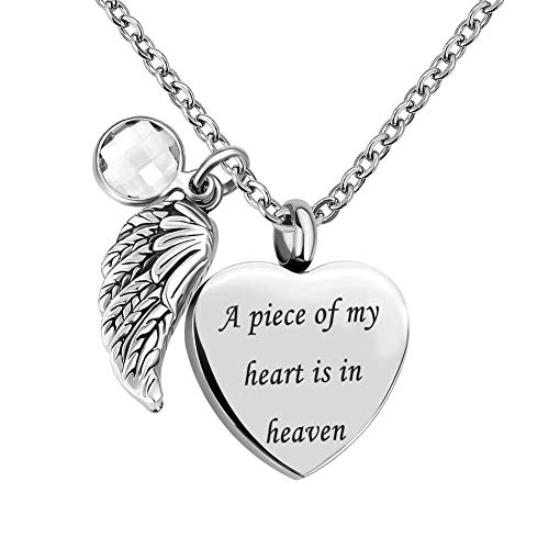 CLY Jewelry Urn Necklace for Ashes Stainless Steel Love Heart with Angel Wings Clear Crystal Birhstone of April Cremation Jewelry A Piece of Heart is in Heaven Memorial Special Keepsake - Crystal Heart Clear