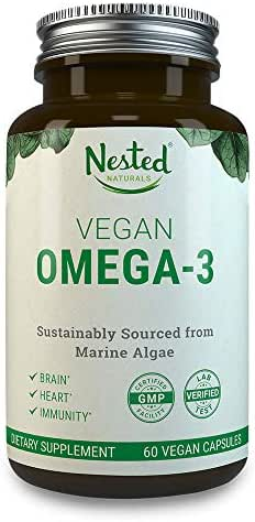 VEGAN OMEGA 3 – Better than Fish Oil | 60 Capsules of Algal DHA and EPA | Plant Based Brain Supplement, Maintain Cardiovascular Health and Quality Prenatal Omega-3 | Vegetarian Fatty Acids Supplements