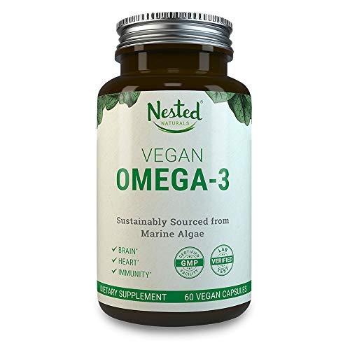 VEGAN OMEGA 3 - Better than Fish Oil | 60 Capsules of Algal DHA and EPA | Plant Based Brain Supplement, Maintain Cardiovascular Health and Quality Prenatal Omega-3 | Vegetarian Fatty Acids Supplements