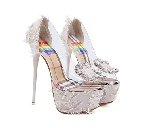 Bomba 16.5 cm tacón de Aguja Peep Toe Transparente Sandalias de tacón Alto Vestido de Fiesta Zapatos Sexy Rhinestone...