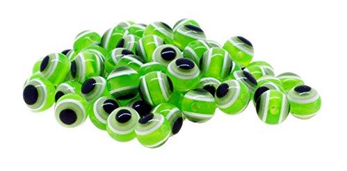 Mandala Crafts Wholesale Jewelry Making 150 8mm Resin Loose Evil Eye Beads (Light Green)