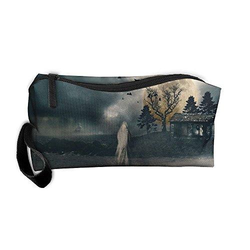 Kla Ju Portable Pen Bag Purse Pouch Ghost Moon Night Stationery Storage Organizer Cosmetic -