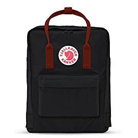Fjallraven, Kanken Classic Backpack for Everyday 6 ICONIC: Same classic Kanken design since 1978. Stash everyday essentials in the main zippered compartment, front zippered pocket, and two open side pockets. PRACTICAL: Meet the material: Vinylon F. It has a weird name but it's dirt-resistant, water-resistant, and wipes clean. FUNCTIONAL: Two-way zipper with rain flap for protection. Ergonomic shoulder straps for the long haul. Dual top snap handles for quick carry. Sitting pad for impromptu seating. Reflective logo.