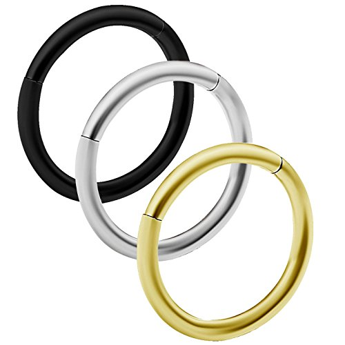 3pcs 18g Hinged Segment Ring Septum Seamless Clicker Hoop Cartilage Nose Lip Ear Tragus Helix Anodized Steel - 8mm (Nose 18g Seamless Ring)