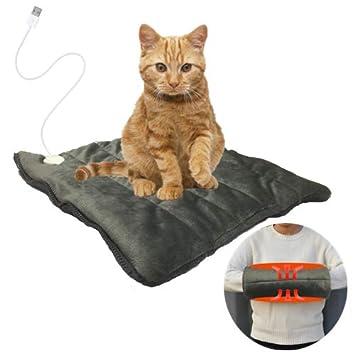 HINGE USB 24W Cojín de calefacción para Mascotas para Perros y Gatos,color Gris (35x35cm): Amazon.es: Productos para mascotas