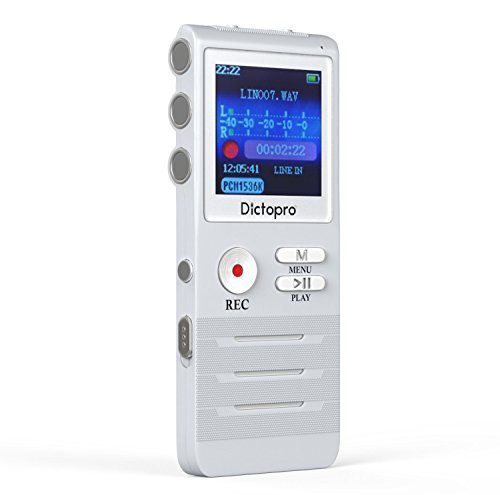 Digital Voice Activated Recorder by Dictopro- Easy HD Recording with Double Microphone, Noise Reduction Audio, Sound, Portable Mini Tape Dictaphone, MP3, USB, 8GB (Renewed)