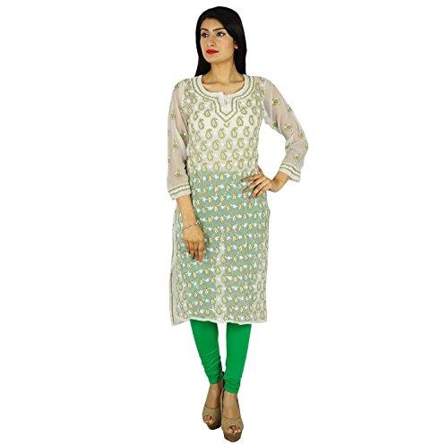 Regalo de vestir casual para ella indio Chikan Mujeres bordado étnico Kurti Georgette Off White-1