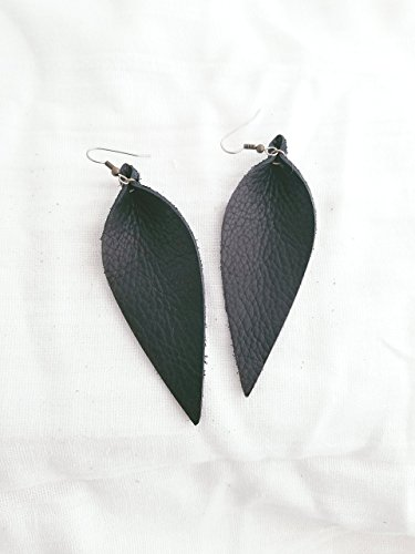 Black / Leather Earrings / FREE SHIPPING/ Joanna Gaines / Magnolia Market / Zia / Statement / Leaf / Large / 3.5