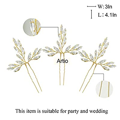 Artio Wedding Hair Pins Accessories with Rhinestones for Brides and Bridesmaids 3 PCS