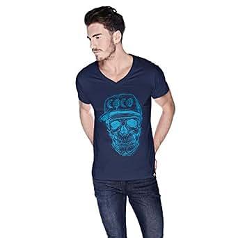 Creo Light Blue Coco Skull T-Shirt For Men - L, Navy Blue