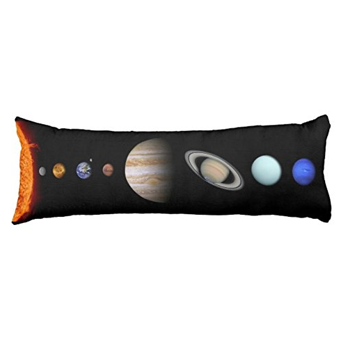 UOOPOO Solar System Inline Outer Space Polyester Body Pillow Cover Square 20 x 54 Inches for Bed Print on Twin Sides