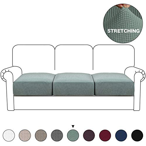 Turquoize Stretch Cushion Cover Sofa Cushion Furniture Protector High Spandex Furniture Protector Machine Washable Spandex Jacquard Fabric with Elastic Bottom (3 Pieces Cushion Covers, Dark Cyan) (Couch Cushion Individual Covers)