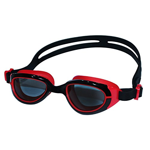HiCool Anti-Fog Swim Goggle for Kids and Early Teens (Black/Red)