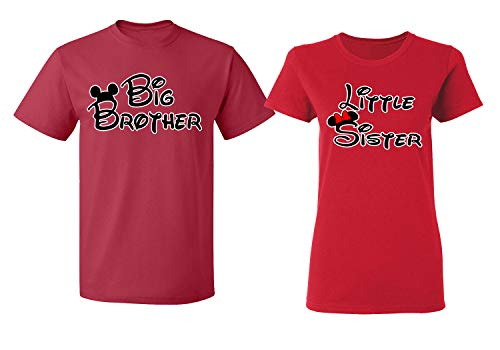 Disney Mickey Minnie Mouse Big Brother Little Sister Tee Shirt Couple for Men Women(red-red,Men-L/Women-S) -