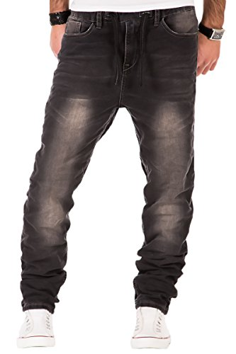 Sublevel Herren Jogg Jeans Hose Sweatpant Jogging Sweathose Clubwear Style Chino Schwarz