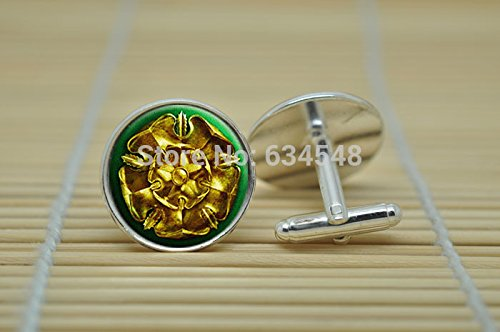 Pretty Lee Game Of Thrones House Tyrell Golden Rose On A Green Field In Silver Cufflinks Glass Cabochon Cufflinks C3032