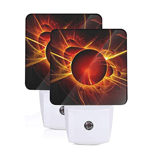 Janeither Set of 2 LED Night Lights, Magic Eclipse Logo Wall Lights, Auto Senor Dusk to Dawn Night Light Plug in Indoor for Adults