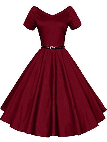 ILover Women 1950s V-Neck Vintage Rockabilly Swing Evening Party Dress (3XL, V026-WineRed)