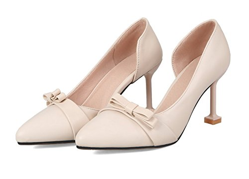 Pull High On Solid Beige Heels Shoes Toe Closed Women's Pumps WeiPoot PU 7aw44q