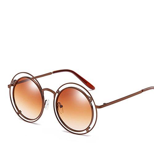 Anillo Gafas Gafas Brown Retro Irregular Doble Antideslumbramiento Sol Unisex De Personalidad Brown Conducción TZr1qZ6IB