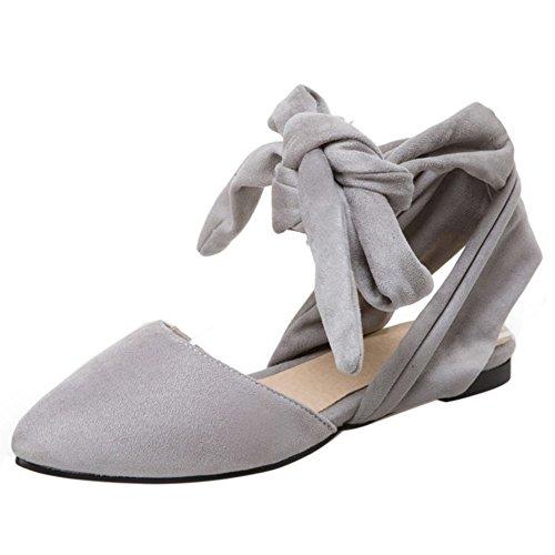 COOLCEPT Damen Mode Schnurung Sandalen Flach Geschlossene Slingback Schuhe Gr Grau