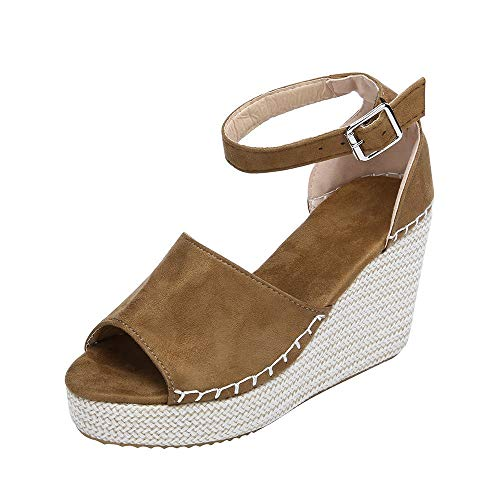 vermers Women Platform Shoes - Fashion Dull Polish Sewing Peep Toe Wedges Hasp Sandals(US:5.5, Brown)