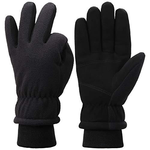 Men Winter Warm Gloves For Men Women Deerskin Leather&Polar Fleece -10℉Coldproof