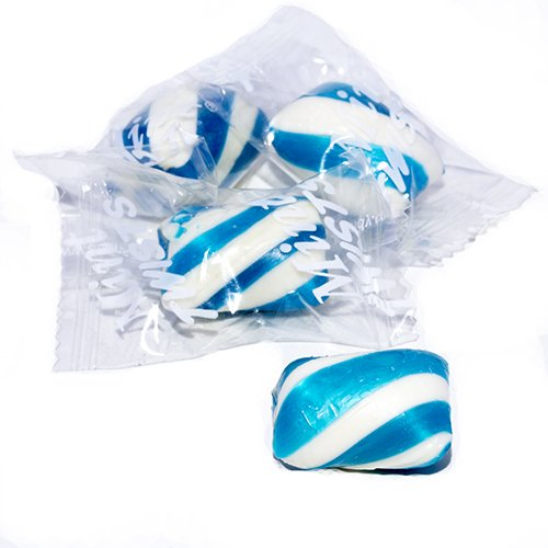 Blue Cylinder Shaped Mint Candy Twists - 2 Pounds