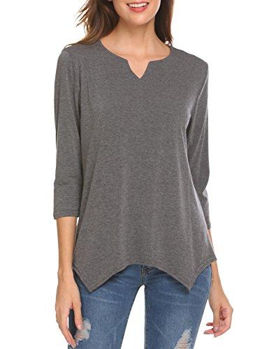 SE MIU Womens Long Sleeve Casual Round Neck Loose Tunic Top Blouse T-Shirt Grey - Miu Miu Top